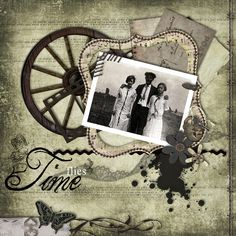 Time Flies ~ Heritage page with great layering and embellishments...the wagon wheel and barbwire edging repeat elements from the vintage photo and set the scene beautifully.