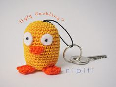 Keychain pendant crochet DUCK- Valentines Day gift - New Home gift - Party favor