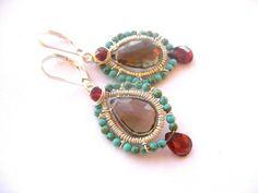 Smokey Quartz Earrings, Garnet Earrings, Wire wrapped earrings with Turquoise,  Wire wrap sterling earrings