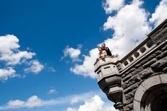 great shot of bride and groom at Belvedere Castle, Central Park