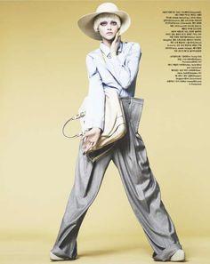 Sasha Pivovarova is Androgynous for Fever Pitch in Vogue Korea #tomboy #fashion trendhunter.com