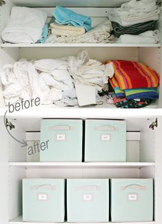 Labeled fabric bins are an easy way to straighten and organize your linen closet. All queen sheets go in one bin, twin in another, etc. #storage #organization