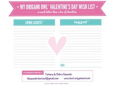 Another way to make Origami Owl Valentine easy! Print it, complete it and then give it your Valentine love!
