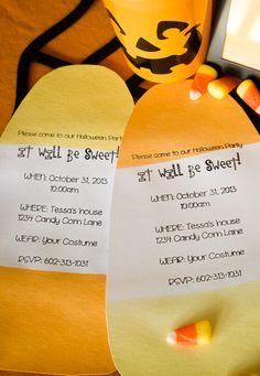 DIY dip-dyed candy corn Halloween party invitations. #HalloweenRIT