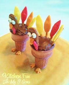 Turkey Cupcake Cones #cupcakes #cupcakeideas #cupcakerecipes #food #yummy #sweet #delicious #cupcake