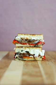 Roasted Red Pepper, Portobello & Goat Cheese Grilled Cheese