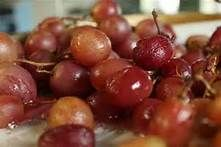Party Grapes:  Line pan with heavy foil, splash with tbls balsamic or sherry vinegar and broil 8-10 min.  Serve with cheese, toasted walnuts & honey.