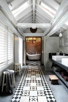 tiling + tub + beams
