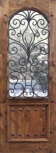 iron scroll wood door