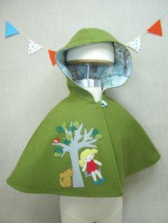 Children Capelet  Wool Cape Hood Handmade Baby Girl by violastudio