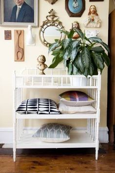 upcycle old changing table as plant display/shelves/bar