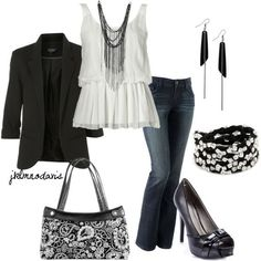 jeans with black and white - Casual elegance. Masculine over layer with ultra feminine under shirt. With all accessories working to compliment this latter view.