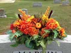 Fall flower arrangement for a family member's grave