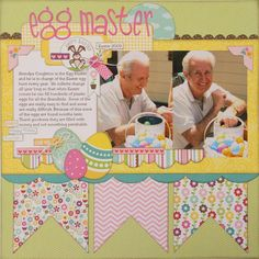 scrapbook layouts easter, idea, easter layouts, bella blvd, egg master, easter scrapbook layouts, easter eggs, layout scrapbook easter, banner
