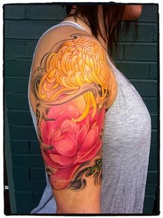 ~ birth, color tattoos, sleev, tattoo artists, chrysanthemum, tattoo patterns, flower tattoos, floral tattoos, tattoo ink