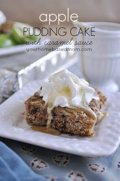 Apple Pudding Cake with Caramel Sauce - your homebased mom