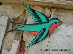 Image detail for -Teal Seafoam Green and hot pink Tattoo Songbird by wickedminky