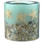 Round sea-green starfish and seashell candle