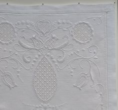 "Contemporary Whitework - ""in the Style of traditional Schwalm embroidery from the Schwalm River region in Germany. Design elements traditionally cover much of the cloth combining curvilinear and geometric forms."""