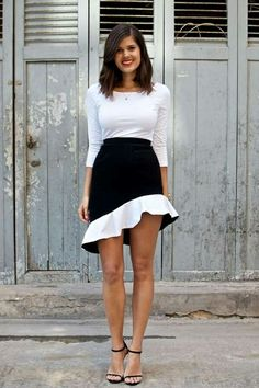 DIY skirt two tone- in black and turquoise, perhaps? Loving the idea of this being calf length with a longer flare and a complementary blazer.