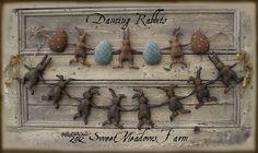 Primitive Pattern Dancing Rabbits and Eggs Garland, US $9.50