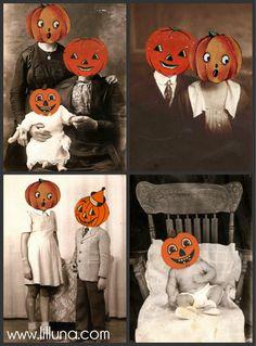 Halloween Vintage Pics with Pumpkin Heads