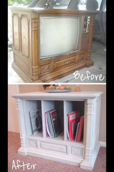 TV console turned cabinet?!?!?  I love it!  Thinking in a kitchen with tall pans or something like that. What a great way to salvage such a sturdy piece of furniture!