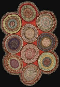 braided rug 1940's wool