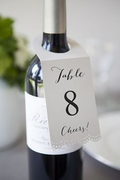 """DIY Wedding // Make these lovely """"wine bottle table number hang tags"""" using our FREE editable design downloads and #marthastewartcraft tools! #12monthsofmartha"""
