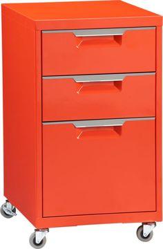 TPS bright orange file cabinet  | CB2