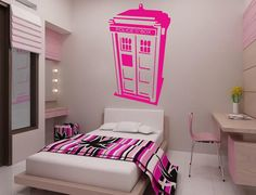 wall art, wall decor, tardi, dream, doctor who, bedroom, art sticker, vinyl wall decals, girl rooms