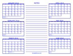 Blank 6 Month Calendar – printable calendar 2017
