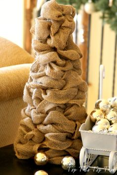 DIY Burlap Trees for the holidays at Top This Top That