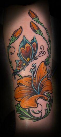 tattoo flower butterfly