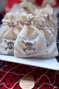 This PIRATE THEMED BIRTHDAY PARTY on www.KarasPartyIdeas.com is to die for. So many cute ideas! Love the favor bags.