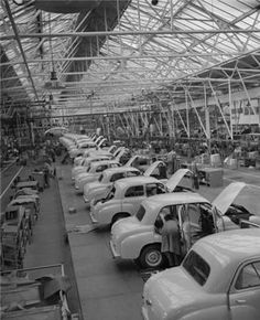 The Standard Car factory in Canley, Coventry in the 1950s - follow the link for a great piece of footage of the Standard 8 car being built at the factory.
