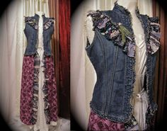 Long Denim Vest, bohemian boho recycled altered couture clothing, denim cotton SMALL MEDIUM