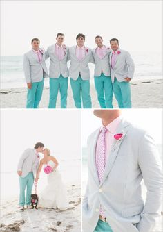 colored pants, beach colorful wedding, turquoise beach wedding, teal color groom, colorful weddings, beach weddings colors, color wedding, bold colors, color beach