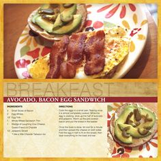 """Easy Breakfast Sandwich: Avocado, Bacon, Egg"" digital scrapbooking layout #digiscrap"