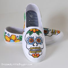 Sugar Skull Sneakers Tutorial by DreamALittleBigger.com...I am not sure I would want Sugar Skull shoes but the printable could be used for all sorts of projects