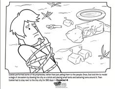 Kids coloring page from What's in the Bible? featuring the story of Ezekiel and the brick from Ezekiel 4. Volume 9: God Speaks!