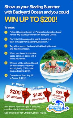 What makes summer sizzle? Create your own board and share with us. See Official Contest Rules here - https://www.facebook.com/notes/backyard-ocean-swimming-pools/my-sizzling-summer-with-backyard-ocean-pinterest-contest-2012-official-rules/399162373473907