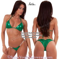 NEW bikini, NEW fabric, NEW model!!! Kelly green shatterglass scrunch butterfly bikini, model Melissa Allen.