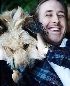 Ryan Gosling And His Dog very cute
