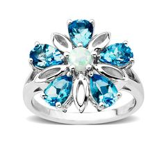Pear-Shaped Blue Topaz and Lab-Created Opal Flower Ring in Sterling Silver - Zales