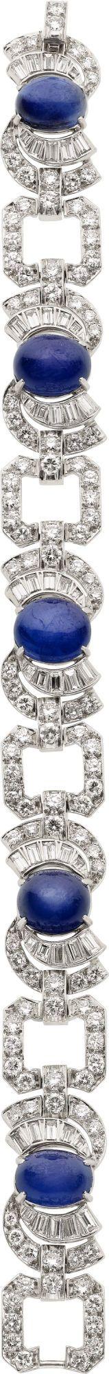 Art Deco Star Sapphire, Diamond, Platinum Bracelet. .