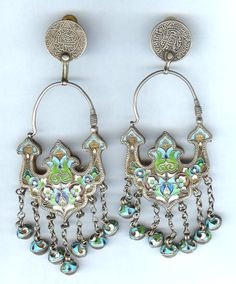 by Linda Pastorino | Earrings made up of original Cloisone enameling silver earrings from Uzbekistan dating to the late 19th century, which have now been altered with the additional coin tops (for pierced ears)