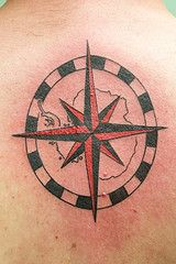 compass rose with degrees and map outline