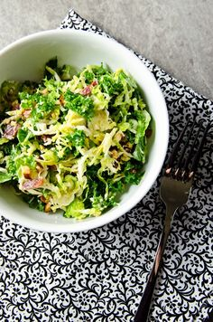 Kale and Brussels salad with bacon and pecorino