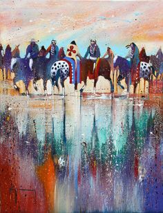 """Settling the Boarder Dispute"" by Bruce King. The Oneida artist chronicles the history of his people in vibrant hues.  #art #fineart #painting #arttovisit #gallery #painter #artist #artalive #artnews #lifeofanartist #followart #supportart #artbeat #modernart #contemporaryart #santafe #newmexico #new_mexico #santafenm #canyonroad #okeeffecountry #newmexicotrue #southwest #red #reflection #horseback #horses #nativeamerican #americanindian #indian"